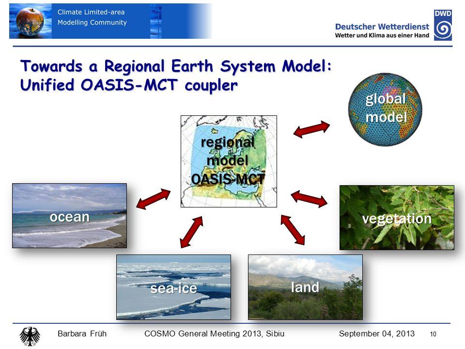 Barbara FrühCOSMO General Meeting 2013, SibiuSeptember 04, 2013 10 Towards a Regional Earth System Model: Unified OASIS-MCT coupler regionalmodelOASIS-MCT globalmodel vegetation land sea-ice ocean