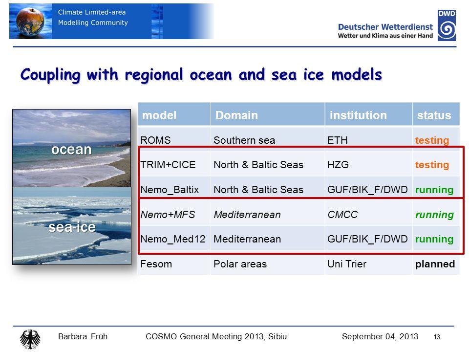 Barbara FrühCOSMO General Meeting 2013, SibiuSeptember 04, 2013 13 Coupling with regional ocean and sea ice models ocean sea-ice modelDomaininstitutionstatus ROMSSouthern seaETHtesting TRIM+CICENorth & Baltic SeasHZGtesting Nemo_BaltixNorth & Baltic SeasGUF/BIK_F/DWDrunning Nemo+MFSMediterraneanCMCCrunning Nemo_Med12MediterraneanGUF/BIK_F/DWDrunning FesomPolar areasUni Trierplanned