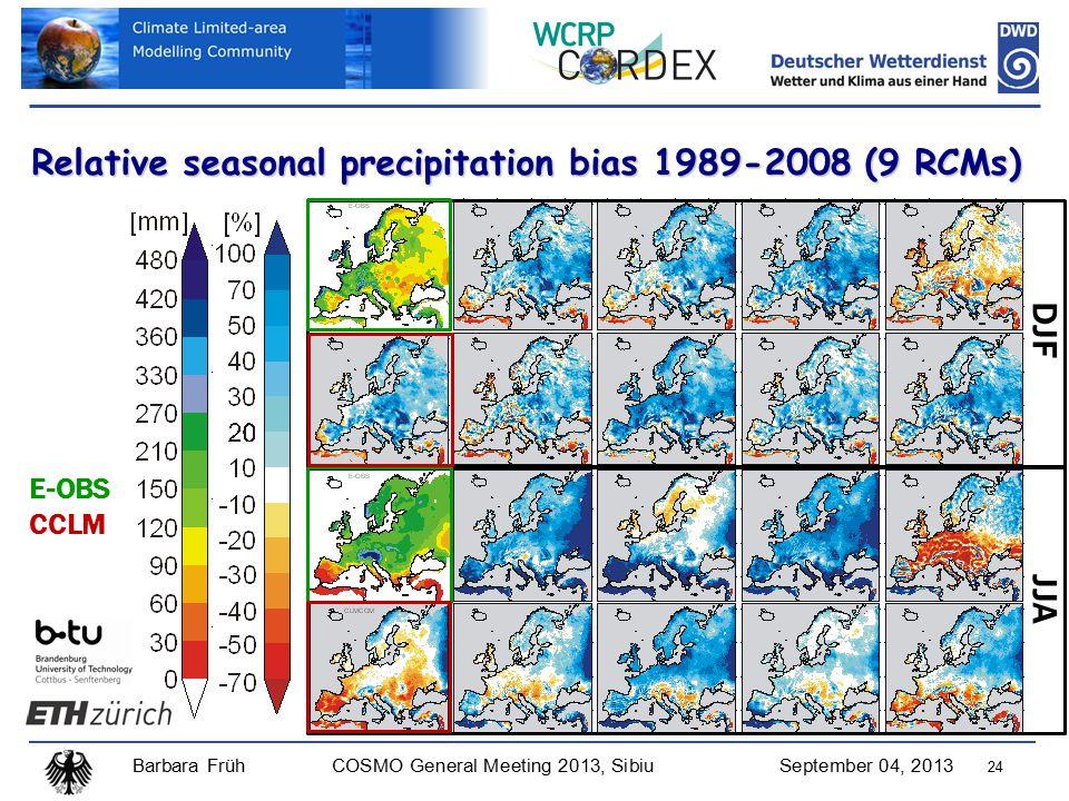 Barbara FrühCOSMO General Meeting 2013, SibiuSeptember 04, 2013 24 DJF Relative seasonal precipitation bias 1989-2008 (9 RCMs) JJA E-OBS CCLM