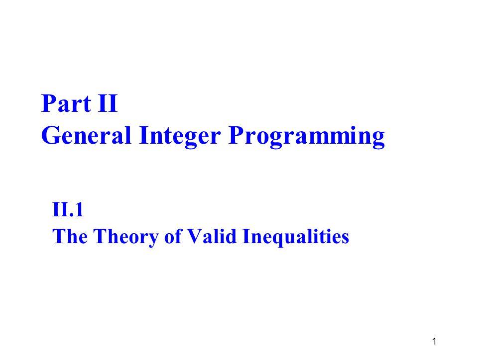 Part II General Integer Programming II.1 The Theory of Valid Inequalities 1
