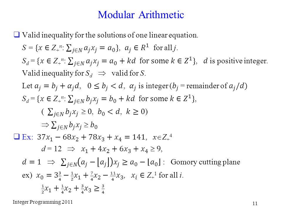 Modular Arithmetic Integer Programming 2011 11