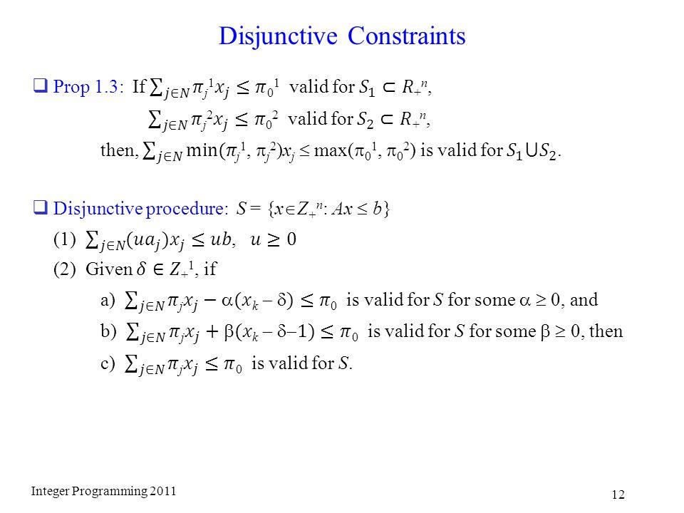 Disjunctive Constraints Integer Programming 2011 12