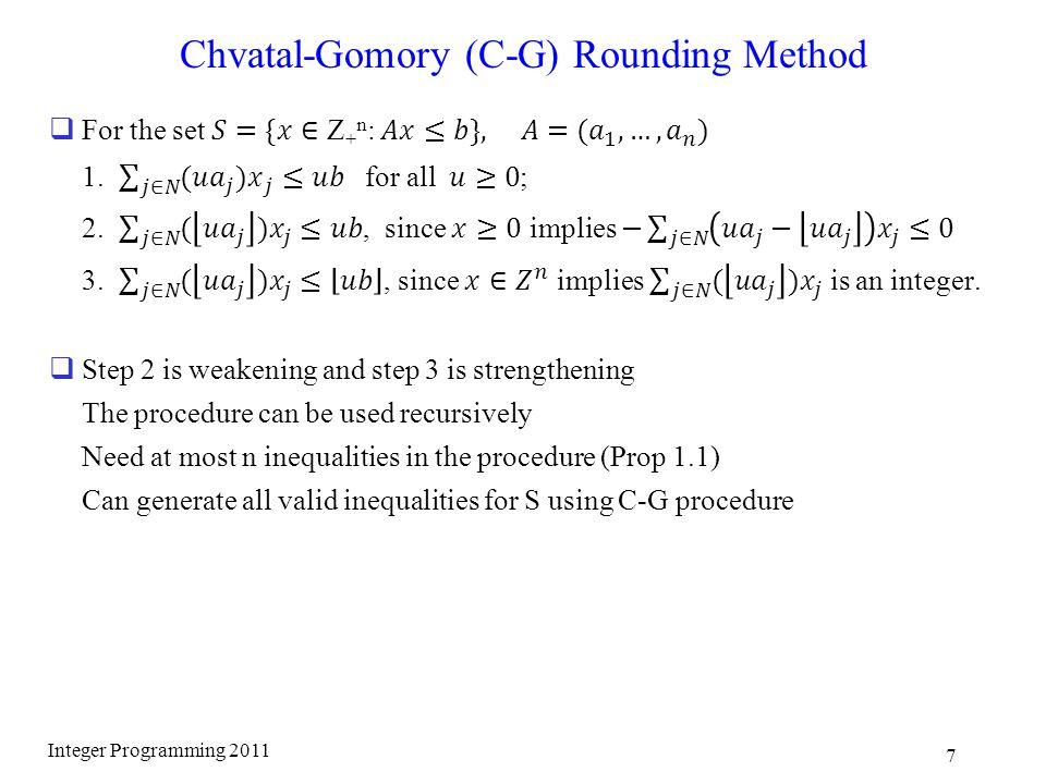 Chvatal-Gomory (C-G) Rounding Method Integer Programming 2011 7