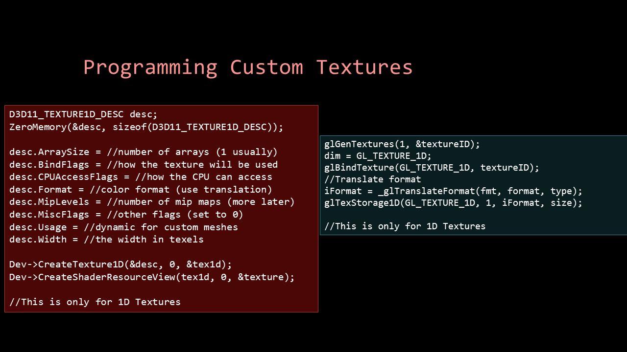 Programming Custom Textures glGenTextures(1, &textureID); dim = GL_TEXTURE_1D; glBindTexture(GL_TEXTURE_1D, textureID); //Translate format iFormat = _