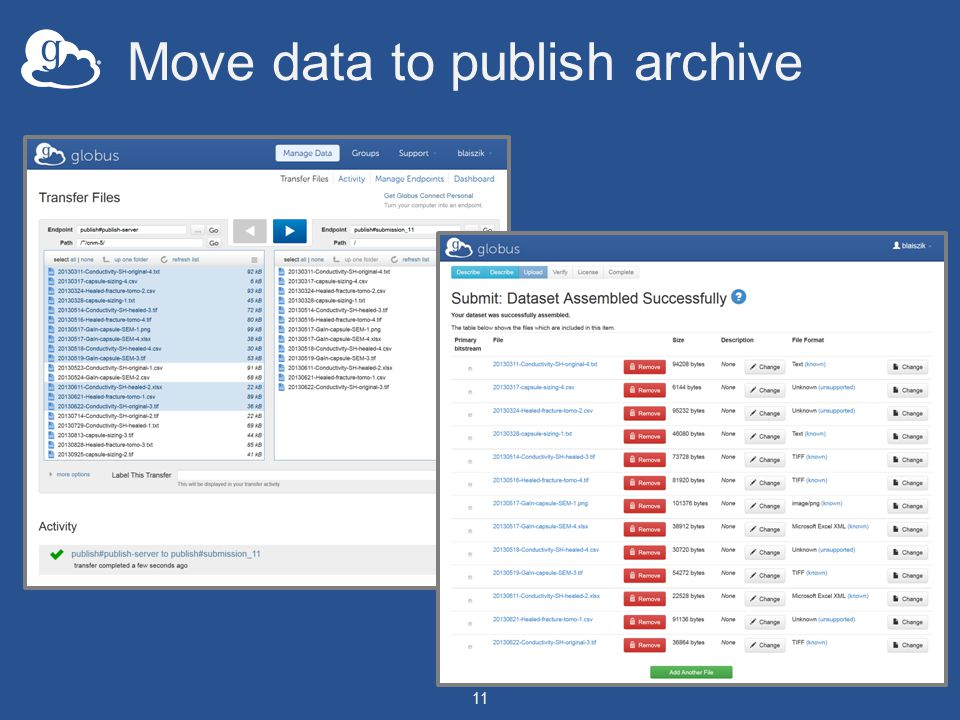 Move data to publish archive 11