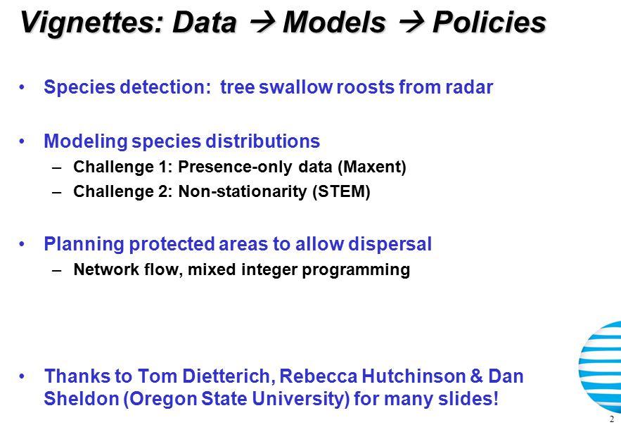 Application: Protected area design Kremen et al., Science 320(5873), 2008, pp 222-226