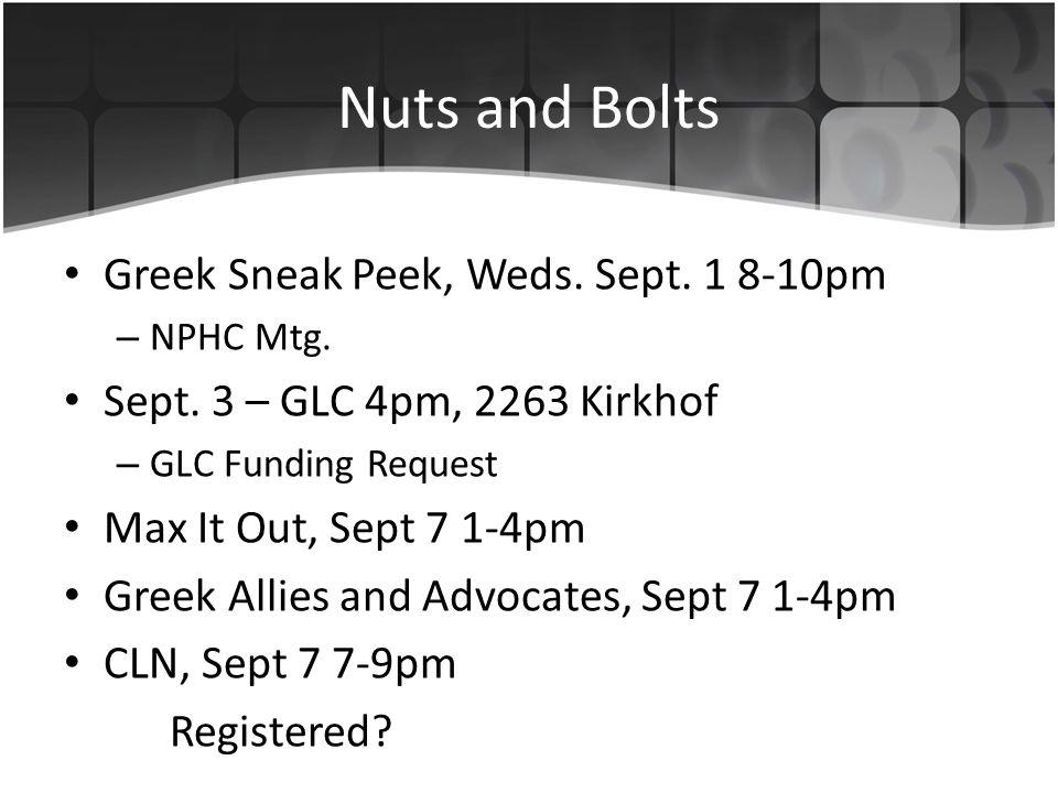 Nuts and Bolts Greek Sneak Peek, Weds. Sept. 1 8-10pm – NPHC Mtg.
