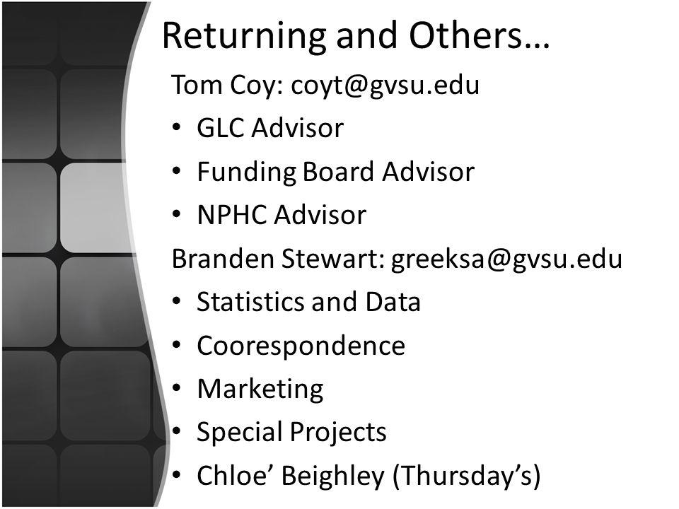Returning and Others… Tom Coy: coyt@gvsu.edu GLC Advisor Funding Board Advisor NPHC Advisor Branden Stewart: greeksa@gvsu.edu Statistics and Data Coorespondence Marketing Special Projects Chloe' Beighley (Thursday's)