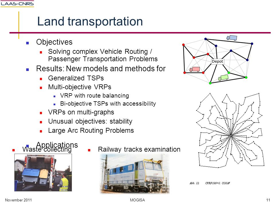 November 2011MOGISA11 Land transportation Objectives Solving complex Vehicle Routing / Passenger Transportation Problems Results: New models and metho