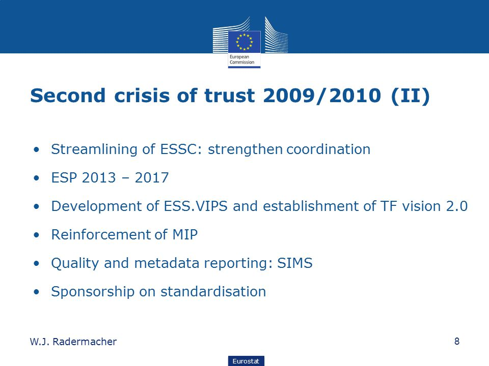 Eurostat Second crisis of trust 2009/2010 (II) Streamlining of ESSC: strengthen coordination ESP 2013 – 2017 Development of ESS.VIPS and establishment of TF vision 2.0 Reinforcement of MIP Quality and metadata reporting: SIMS Sponsorship on standardisation 8W.J.