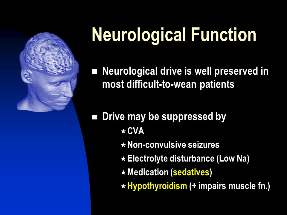 Neurological Function Neurological drive is well preserved in most difficult-to-wean patients Drive may be suppressed by  CVA  Non-convulsive seizures  Electrolyte disturbance (Low Na)  Medication (sedatives)  Hypothyroidism (+ impairs muscle fn.)