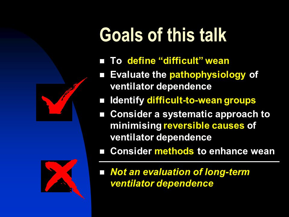 Goals of this talk To define difficult wean Evaluate the pathophysiology of ventilator dependence Identify difficult-to-wean groups Consider a systematic approach to minimising reversible causes of ventilator dependence Consider methods to enhance wean Not an evaluation of long-term ventilator dependence