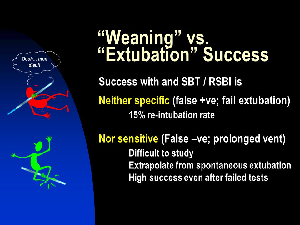 """""""Weaning"""" vs. """"Extubation"""" Success Success with and SBT / RSBI is Neither specific (false +ve; fail extubation) 15% re-intubation rate Nor sensitive ("""