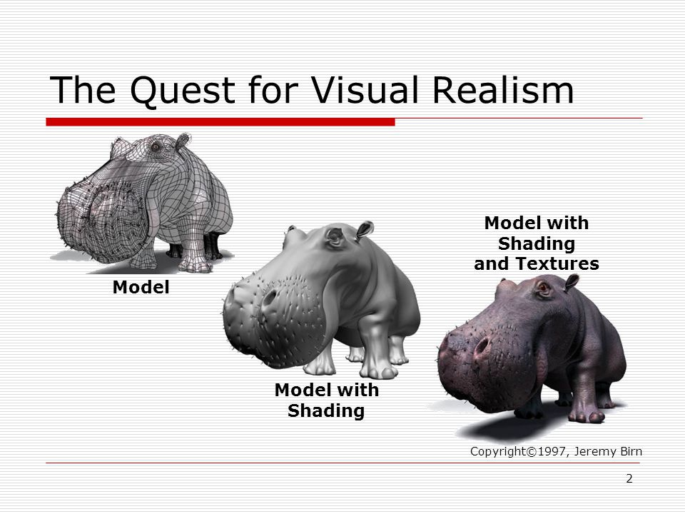 The Quest for Visual Realism Copyright©1997, Jeremy Birn Model Model with Shading Model with Shading and Textures 2