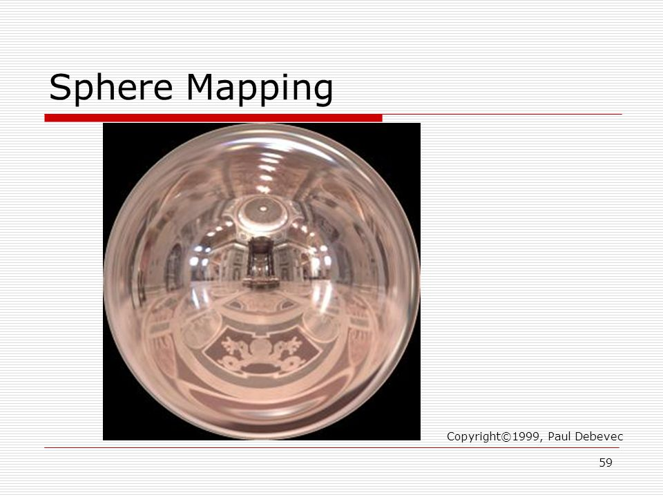Sphere Mapping Copyright©1999, Paul Debevec 59
