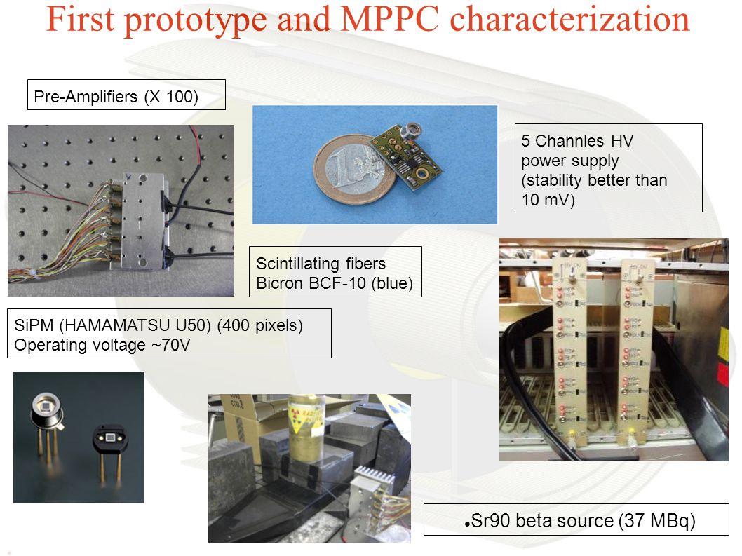 First prototype and MPPC characterization Pre-Amplifiers (X 100) SiPM (HAMAMATSU U50) (400 pixels) Operating voltage ~70V Scintillating fibers Bicro