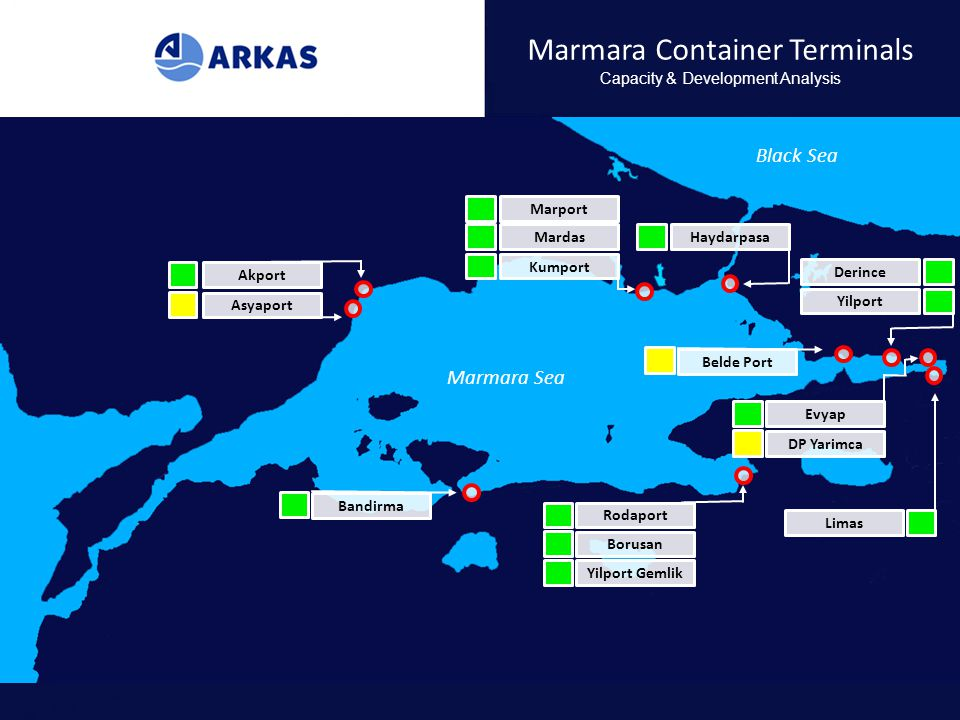 Marmara Container Terminals Capacity & Development Analysis Marmara Sea Black Sea Akport Asyaport Marport Mardas Kumport Haydarpasa Derince Yilport Be