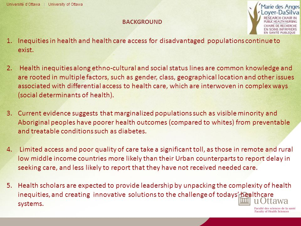BACKGROUND Université d'Ottawa | University of Ottawa 1.Inequities in health and health care access for disadvantaged populations continue to exist.