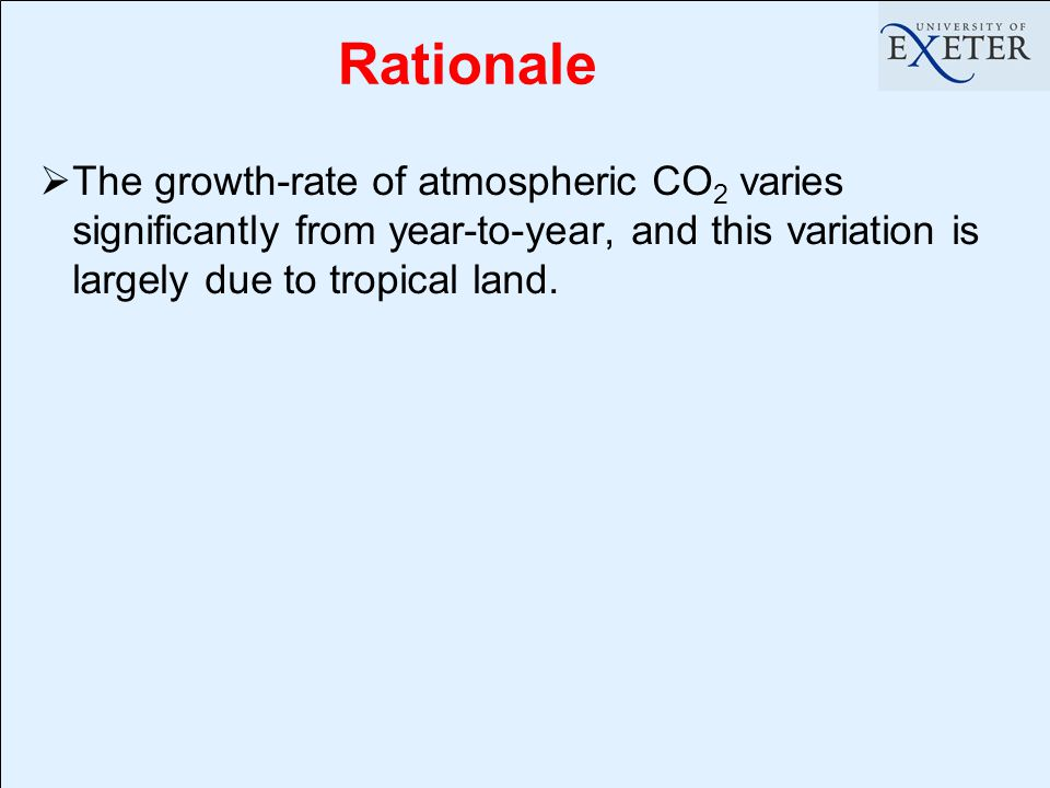 Rationale  The growth-rate of atmospheric CO 2 varies significantly from year-to-year, and this variation is largely due to tropical land.