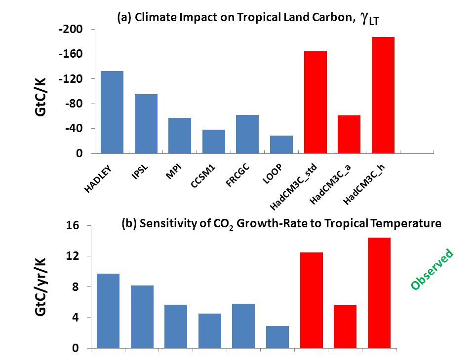 (a) Climate Impact on Tropical Land Carbon,  LT GtC/K (b) Sensitivity of CO 2 Growth-Rate to Tropical Temperature GtC/yr/K Observed