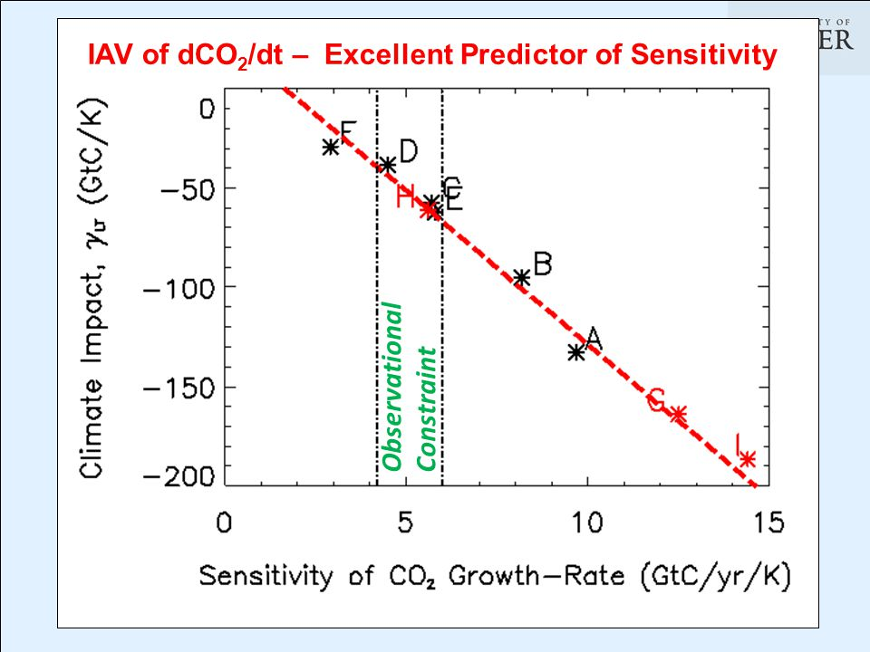 Observational Constraint IAV of dCO 2 /dt – Excellent Predictor of Sensitivity