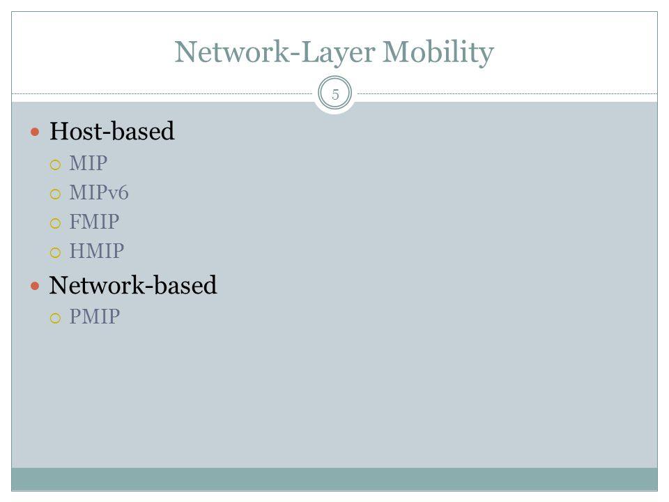 Network-Layer Mobility 5 Host-based  MIP  MIPv6  FMIP  HMIP Network-based  PMIP