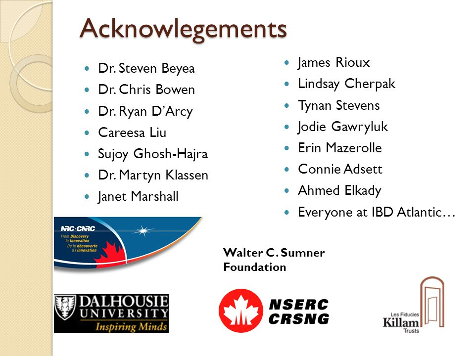 Acknowlegements Dr. Steven Beyea Dr. Chris Bowen Dr.