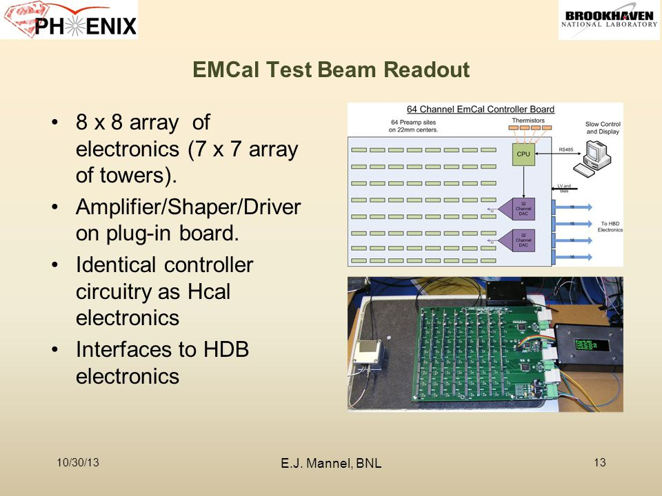 EMCal Test Beam Readout 10/30/13 E.J. Mannel, BNL 13 8 x 8 array of electronics (7 x 7 array of towers). Amplifier/Shaper/Driver on plug-in board. Ide