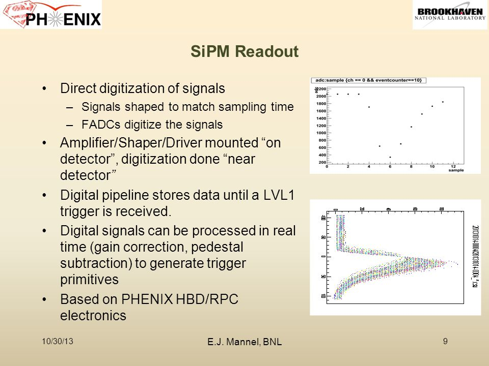 SiPM Readout Direct digitization of signals –Signals shaped to match sampling time –FADCs digitize the signals Amplifier/Shaper/Driver mounted on detector , digitization done near detector Digital pipeline stores data until a LVL1 trigger is received.