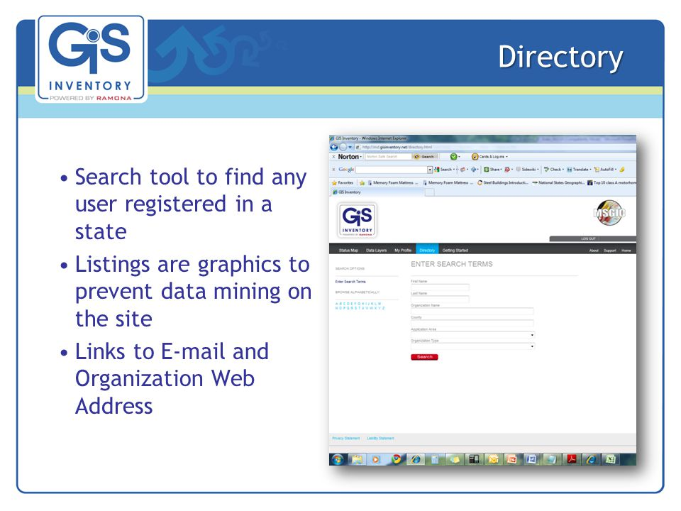 Directory Search tool to find any user registered in a state Listings are graphics to prevent data mining on the site Links to E-mail and Organization Web Address