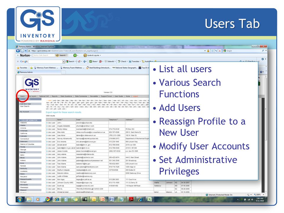 Users Tab List all users Various Search Functions Add Users Reassign Profile to a New User Modify User Accounts Set Administrative Privileges List all users Various Search Functions Add Users Reassign Profile to a New User Modify User Accounts Set Administrative Privileges