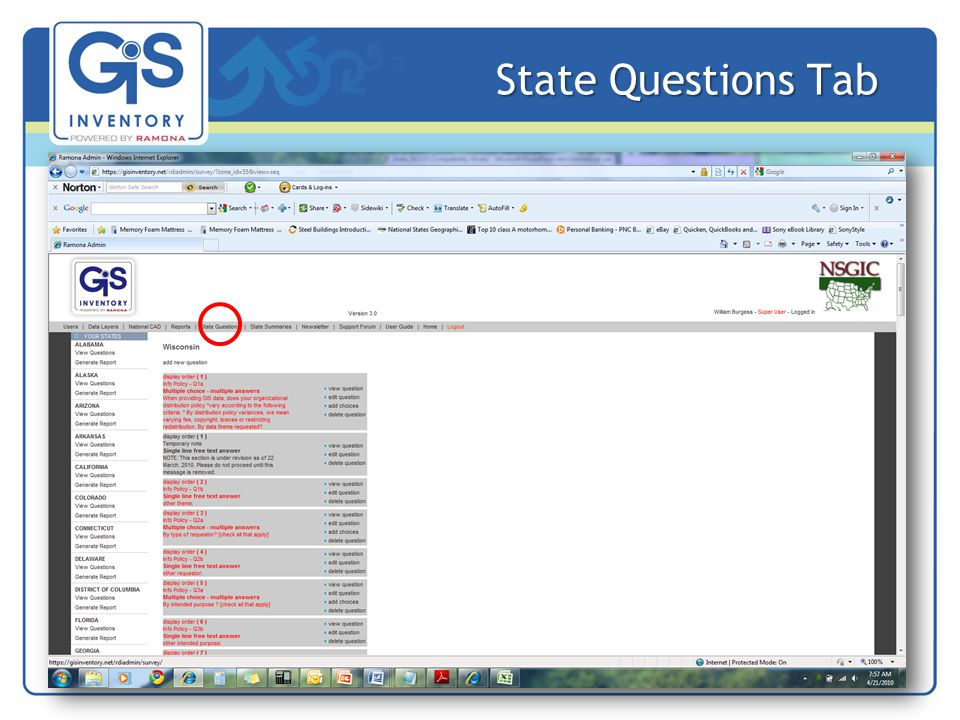 State Questions Tab