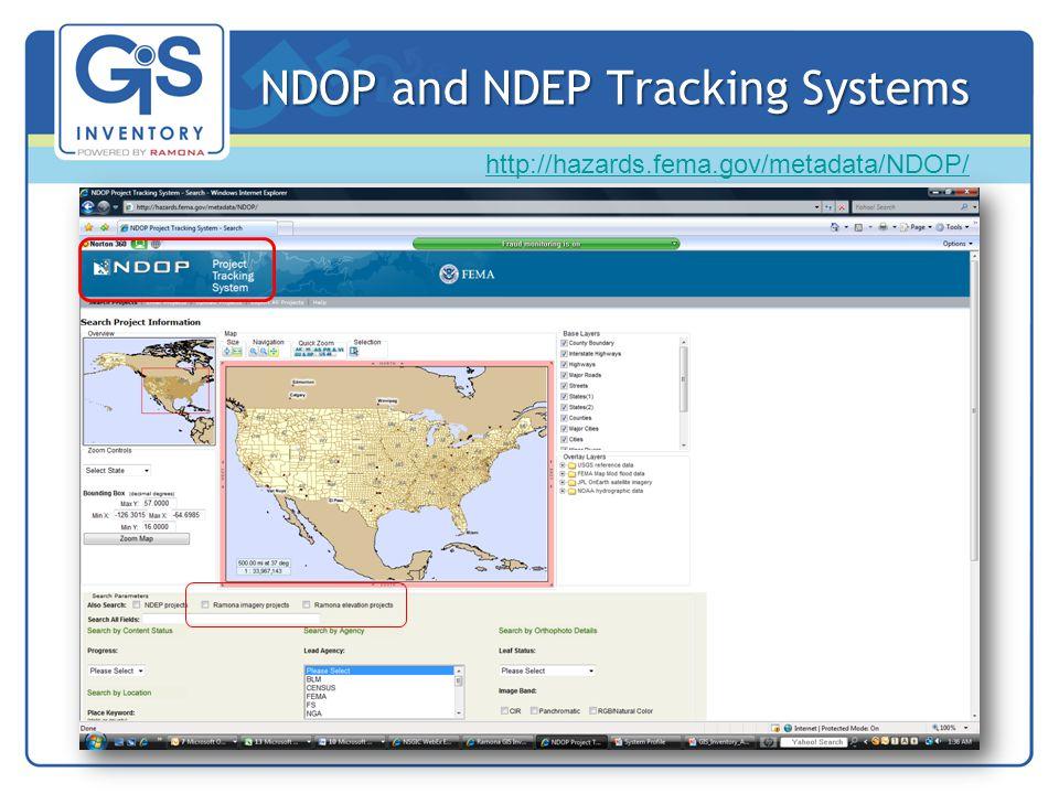 NDOP and NDEP Tracking Systems http://hazards.fema.gov/metadata/NDOP/