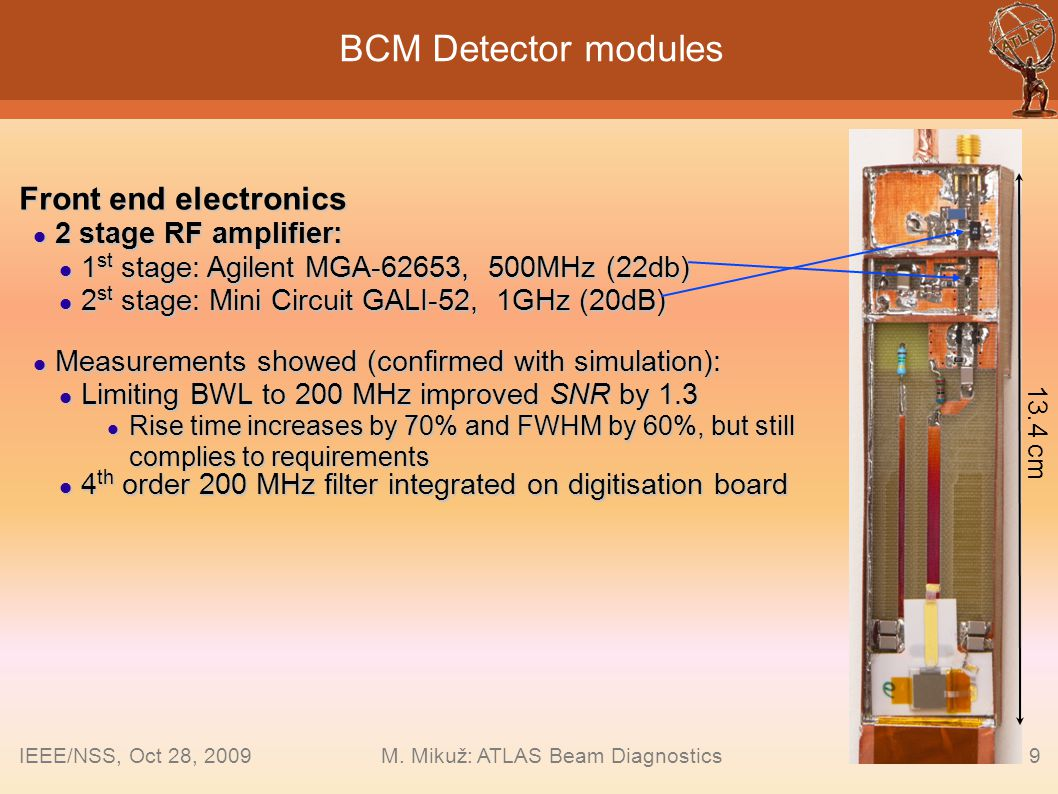 9 BCM Detector modules Front end electronics 2 stage RF amplifier: 2 stage RF amplifier: 1 st stage: Agilent MGA-62653, 500MHz (22db) 1 st stage: Agil