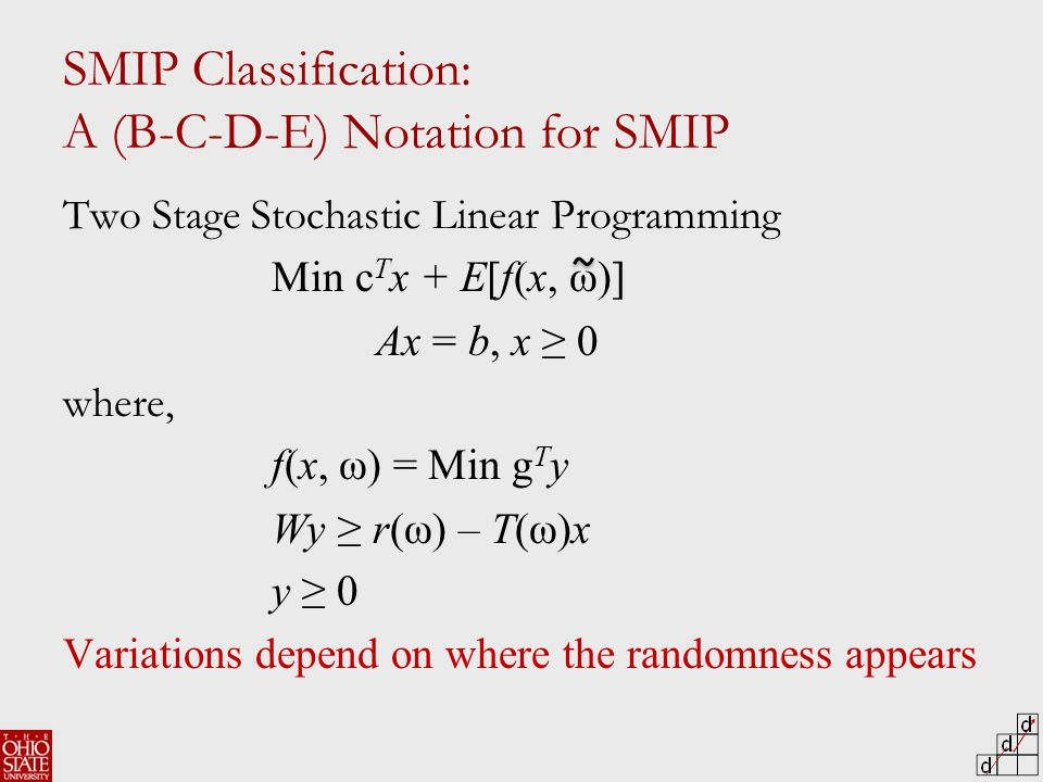 SMIP Classification: A (B-C-D-E) Notation for SMIP Two Stage Stochastic Linear Programming Min c T x + E[f(x, ω)] Ax = b, x ≥ 0 where, f(x, ω) = Min g T y Wy ≥ r(ω) – T(ω)x y ≥ 0 Variations depend on where the randomness appears