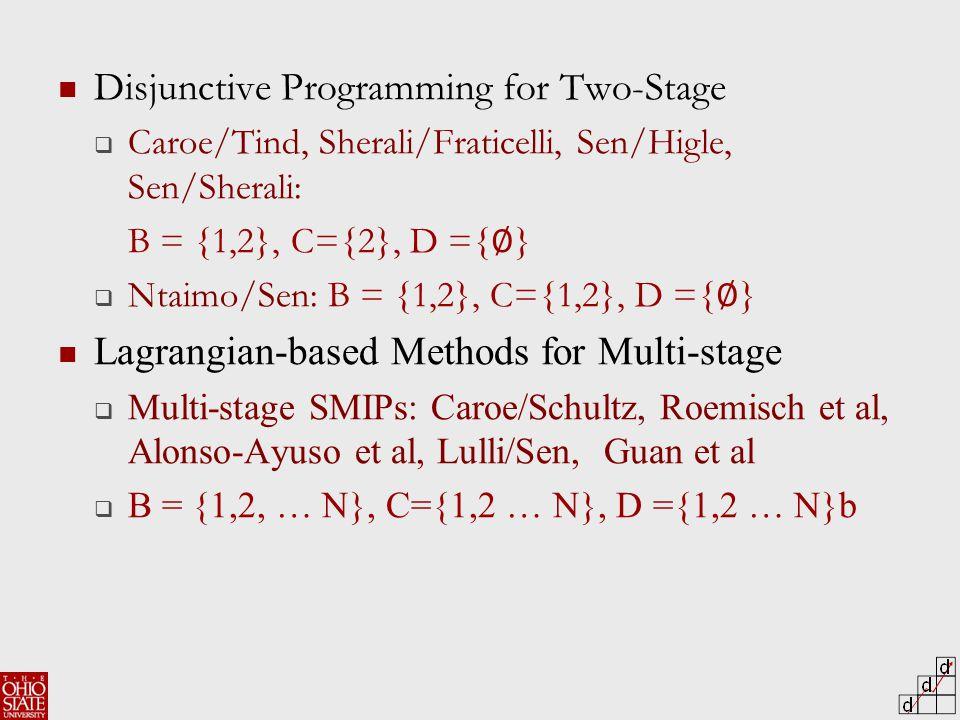 Disjunctive Programming for Two-Stage  Caroe/Tind, Sherali/Fraticelli, Sen/Higle, Sen/Sherali: B = {1,2}, C={2}, D ={ ∅ }  Ntaimo/Sen: B = {1,2}, C={1,2}, D ={ ∅ } Lagrangian-based Methods for Multi-stage  Multi-stage SMIPs: Caroe/Schultz, Roemisch et al, Alonso-Ayuso et al, Lulli/Sen, Guan et al  B = {1,2, … N}, C={1,2 … N}, D ={1,2 … N}b
