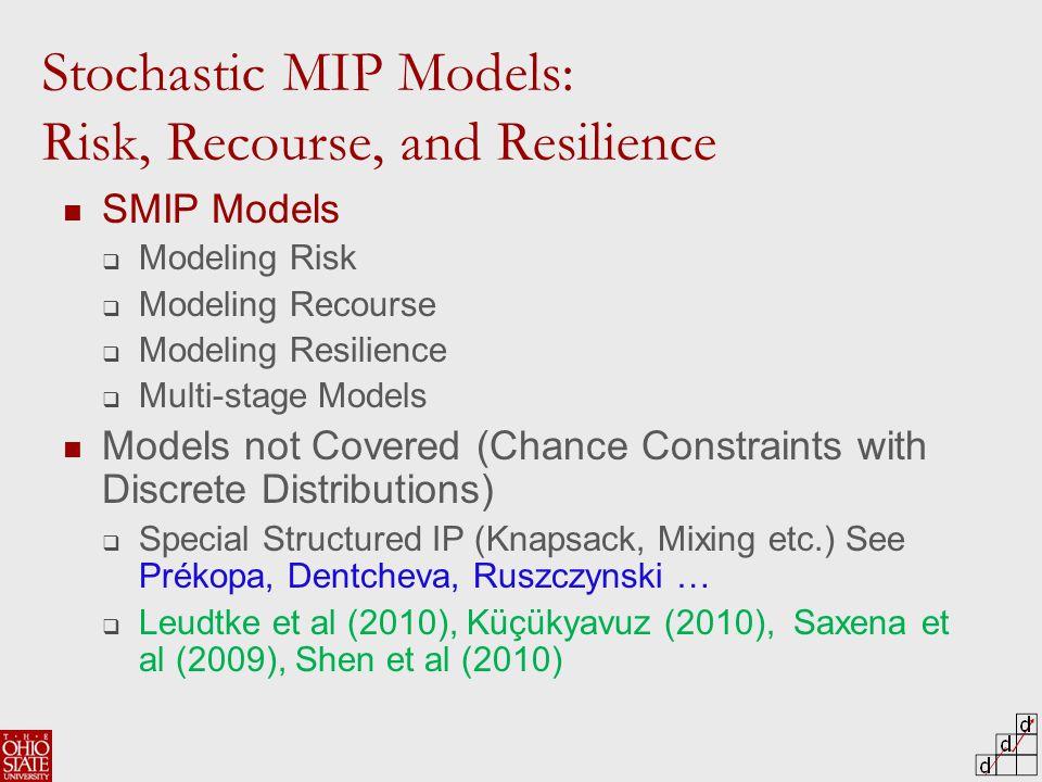 SMIP Models  Modeling Risk  Modeling Recourse  Modeling Resilience  Multi-stage Models Models not Covered (Chance Constraints with Discrete Distributions)  Special Structured IP (Knapsack, Mixing etc.) See Prékopa, Dentcheva, Ruszczynski …  Leudtke et al (2010), Küçükyavuz (2010), Saxena et al (2009), Shen et al (2010) Stochastic MIP Models: Risk, Recourse, and Resilience
