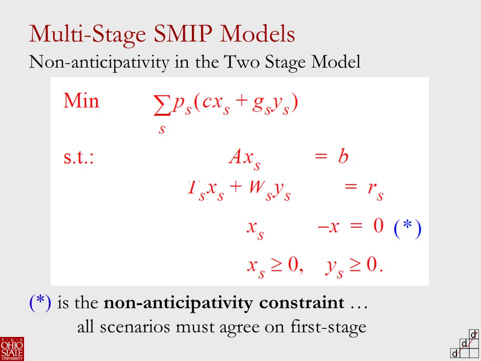 Multi-Stage SMIP Models Non-anticipativity in the Two Stage Model (*) is the non-anticipativity constraint … all scenarios must agree on first-stage