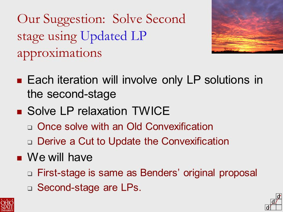 Our Suggestion: Solve Second stage using Updated LP approximations Each iteration will involve only LP solutions in the second-stage Solve LP relaxation TWICE  Once solve with an Old Convexification  Derive a Cut to Update the Convexification We will have  First-stage is same as Benders' original proposal  Second-stage are LPs.