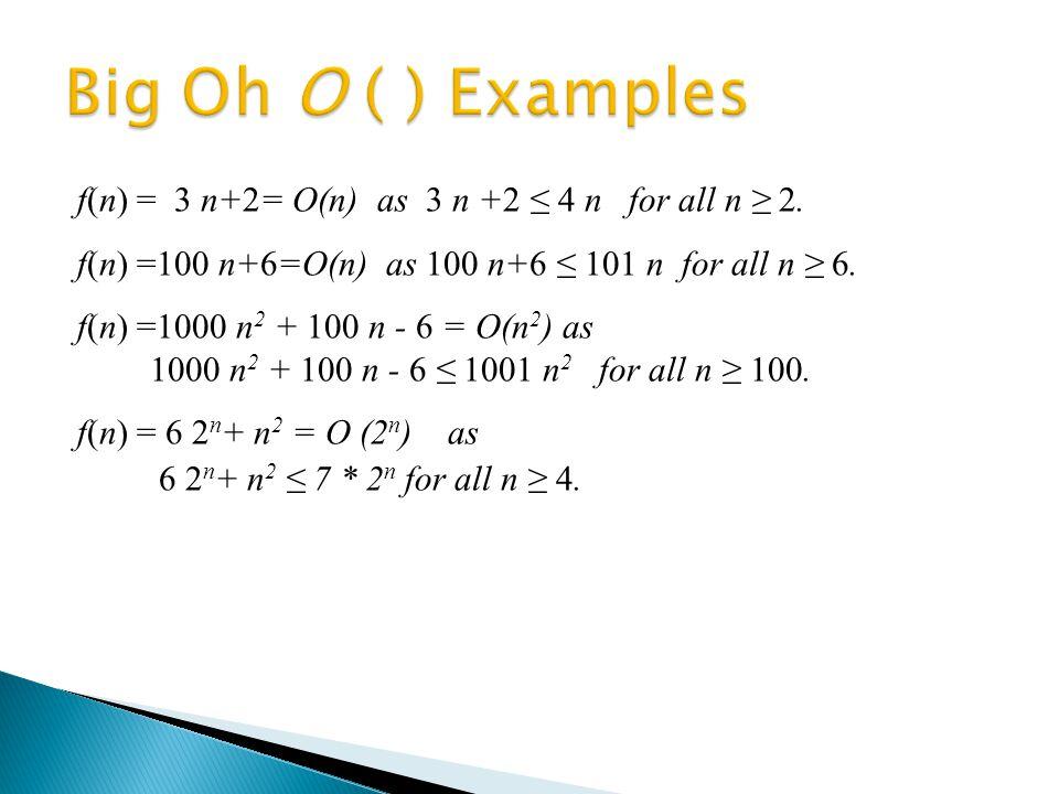 f(n) = 3 n+2= O(n) as 3 n +2 ≤ 4 n for all n ≥ 2. f(n) =100 n+6=O(n) as 100 n+6 ≤ 101 n for all n ≥ 6. f(n) =1000 n 2 + 100 n - 6 = Ο(n 2 ) as 1000 n