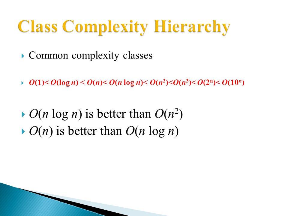  Common complexity classes  O(1)< O(log n) < O(n)< O(n log n)< O(n 2 )<O(n 3 )< O(2 n )< O(10 n )  O(n log n) is better than O(n 2 )  O(n) is bett