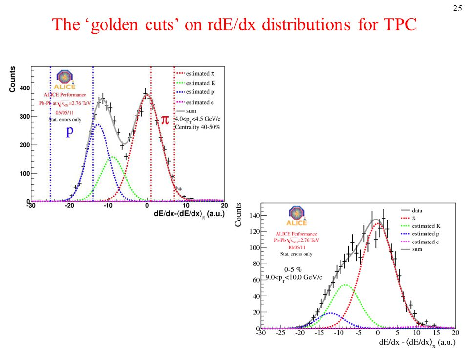 The 'golden cuts' on rdE/dx distributions for TPC 25