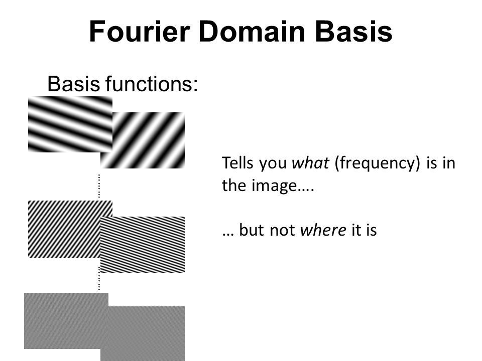 Fourier transform = * Pixel domain image Fourier bases are global: each transform coefficient depends on all pixel locations.