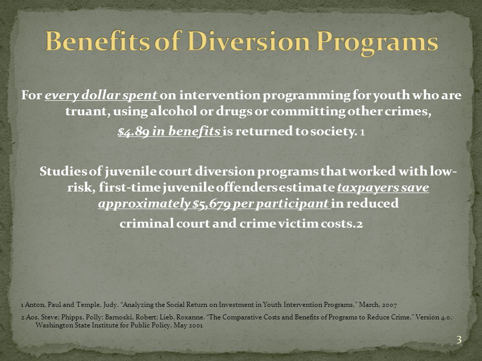 For every dollar spent on intervention programming for youth who are truant, using alcohol or drugs or committing other crimes, $4.89 in benefits is returned to society.