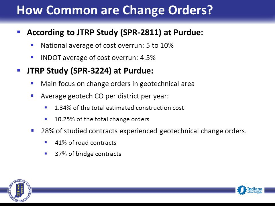 How Common are Change Orders?  According to JTRP Study (SPR-2811) at Purdue:  National average of cost overrun: 5 to 10%  INDOT average of cost ove