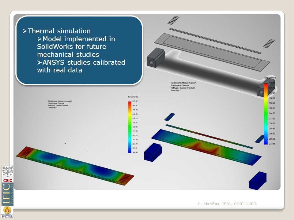 C. Mariñas, IFIC, CSIC-UVEG  Thermal simulation  Model implemented in SolidWorks for future mechanical studies  ANSYS studies calibrated with real