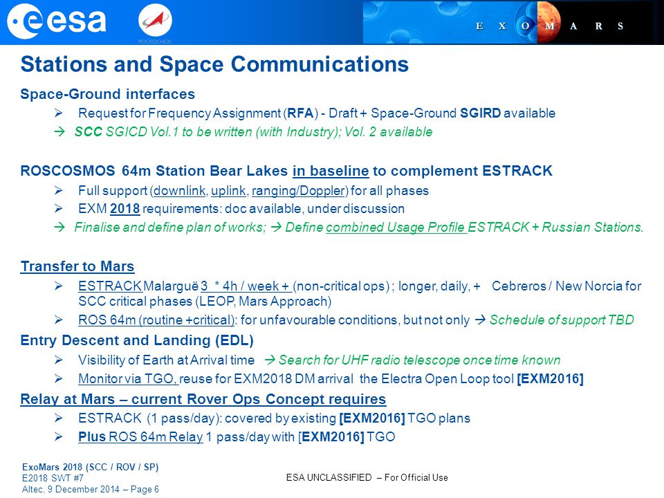 ESA UNCLASSIFIED – For Official Use ExoMars 2018 (SCC / ROV / SP) E2018 SWT #7 Altec, 9 December 2014 – Page 6 Stations and Space Communications Space