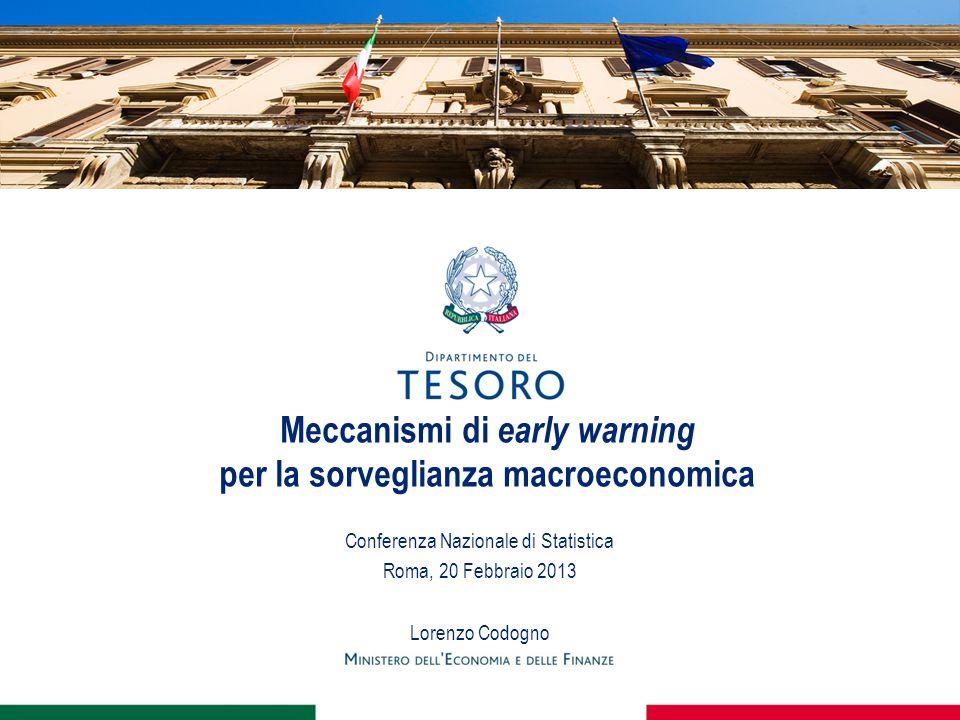 Meccanismi di early warning per la sorveglianza macroeconomica Conferenza Nazionale di Statistica Roma, 20 Febbraio 2013 Lorenzo Codogno