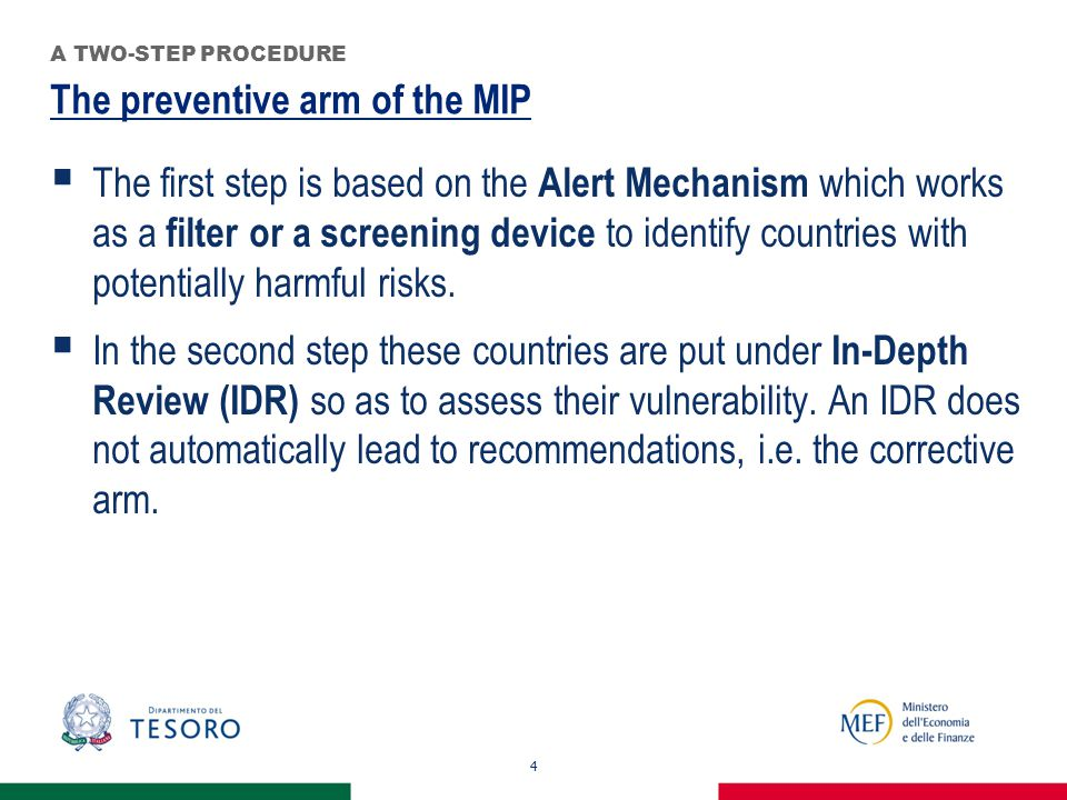 The preventive arm of the MIP 4 A TWO-STEP PROCEDURE  The first step is based on the Alert Mechanism which works as a filter or a screening device to identify countries with potentially harmful risks.