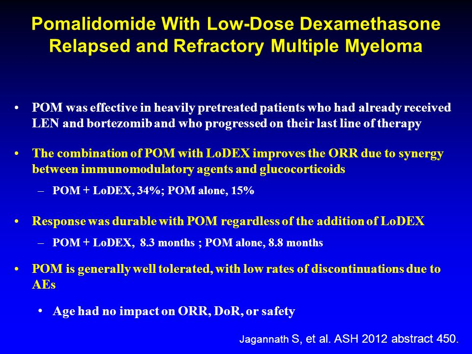 Pomalidomide With Low-Dose Dexamethasone Relapsed and Refractory Multiple Myeloma POM was effective in heavily pretreated patients who had already received LEN and bortezomib and who progressed on their last line of therapy The combination of POM with LoDEX improves the ORR due to synergy between immunomodulatory agents and glucocorticoids –POM + LoDEX, 34%; POM alone, 15% Response was durable with POM regardless of the addition of LoDEX –POM + LoDEX, 8.3 months ; POM alone, 8.8 months POM is generally well tolerated, with low rates of discontinuations due to AEs Age had no impact on ORR, DoR, or safety Jagannath S, et al.